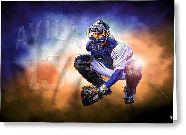 Detroit Tiger Alex Avila Greeting Card by A And N Art
