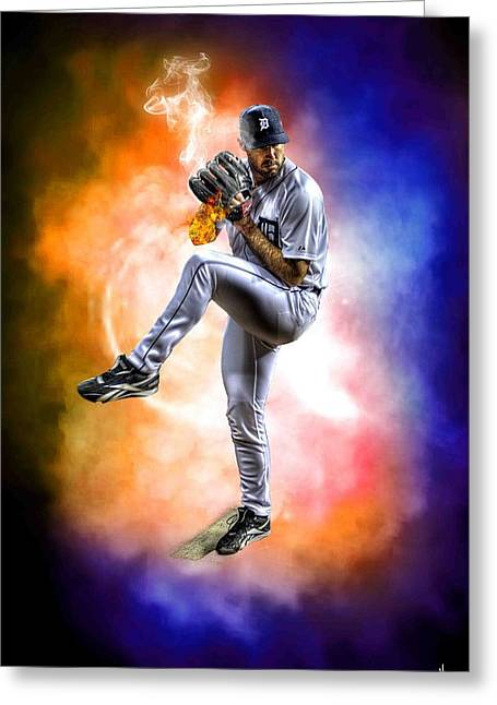 Detroit Tiger Justin Verlander Greeting Card by A And N Art
