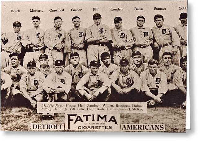 Detroit Tigers 1913 Greeting Card by Benjamin Yeager