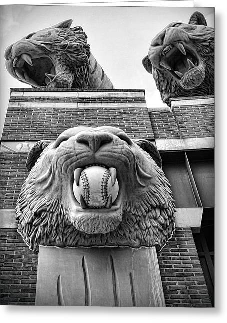 Detroit Tigers Comerica Park Tiger Statues Greeting Card by Gordon Dean II