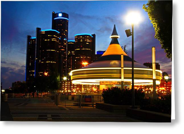 Detroit Waterfront Park Greeting Card by Rexford L Powell