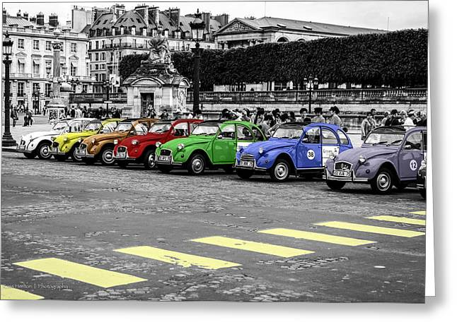 Deux Chevaux In Color Greeting Card by Ross Henton