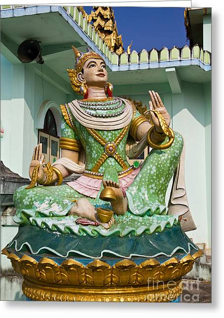 Deva Statue In Myanmar Style Molding Art  Greeting Card by Tosporn Preede
