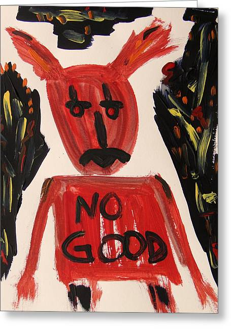 devil with NO GOOD tee shirt Greeting Card