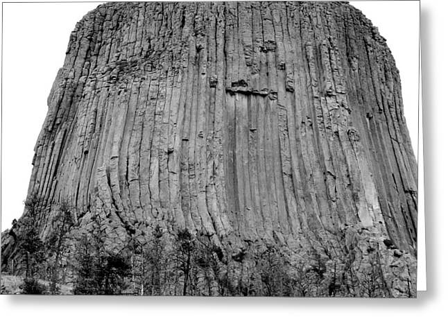 Devils Tower National Monument 3 Bw Greeting Card by Elizabeth Sullivan