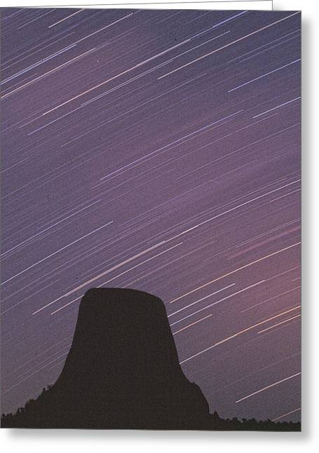 Devils Tower Star Trails Greeting Card by Judi Baker