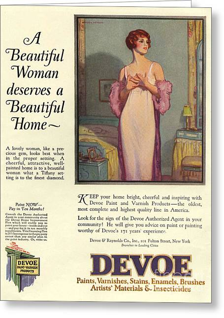 Devoe Varnish 1920s Usa Cc Portraits Greeting Card by The Advertising Archives