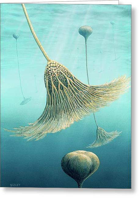 Devonian Crinoid Illustration Greeting Card