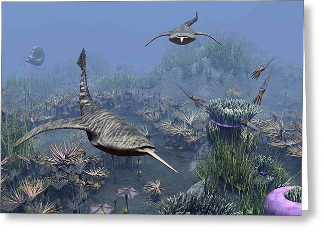 Devonian Sea, Artwork Greeting Card by Science Photo Library