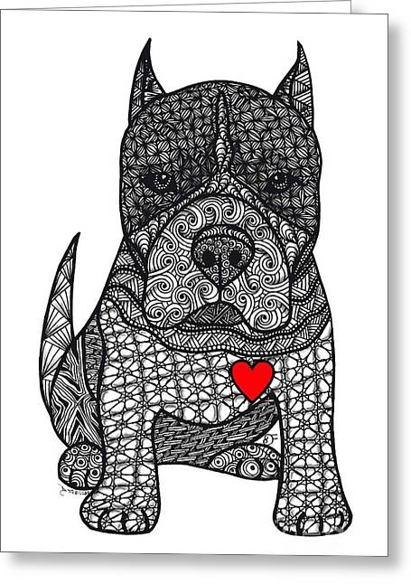Devotion- American Pitbull Terrier Greeting Card
