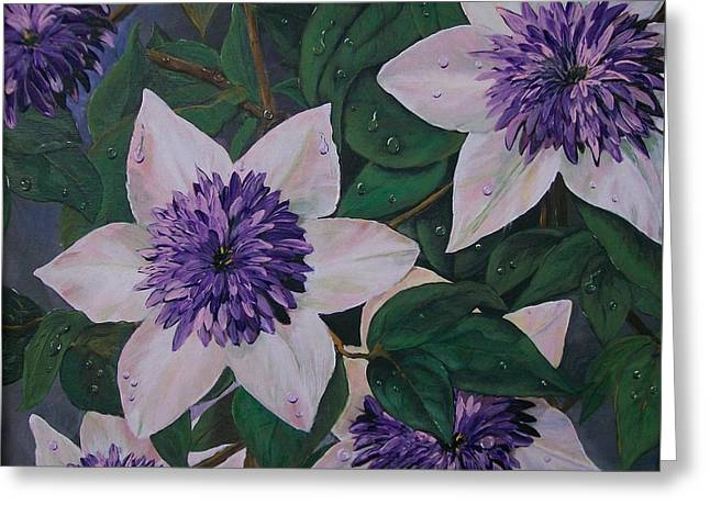 Clematis After The Rain Greeting Card