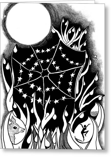 Greeting Card featuring the digital art Dewdrop Stars by Carol Jacobs