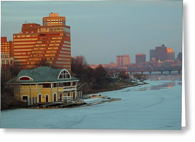 Dewolfe Boathouse Riverside Greeting Card by Barbara McDevitt