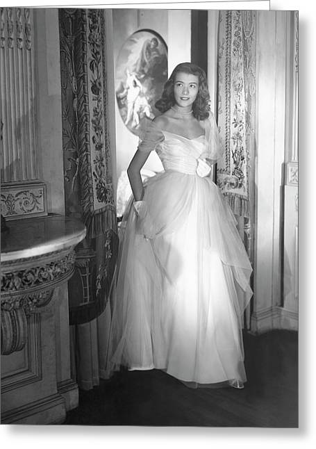Deyanne O'neil Farrell Wearing A Dress Greeting Card by Horst P. Horst