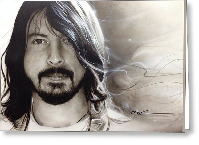 David Grohl - ' D. G. ' Greeting Card by Christian Chapman Art