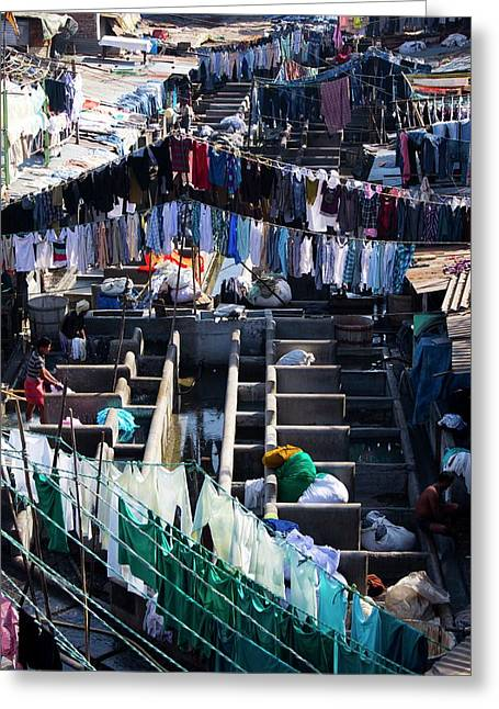 Dhobi Ghat Open-air Laundry Greeting Card by Mark Williamson