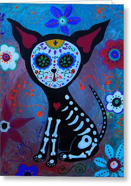 Dia De Los Muertos El Perrito Greeting Card by Pristine Cartera Turkus