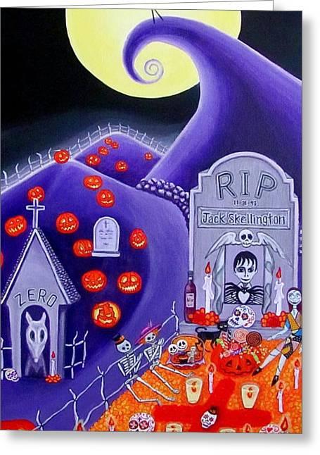Dia De Los Muertos Jack Skellington Greeting Card by Evangelina Portillo