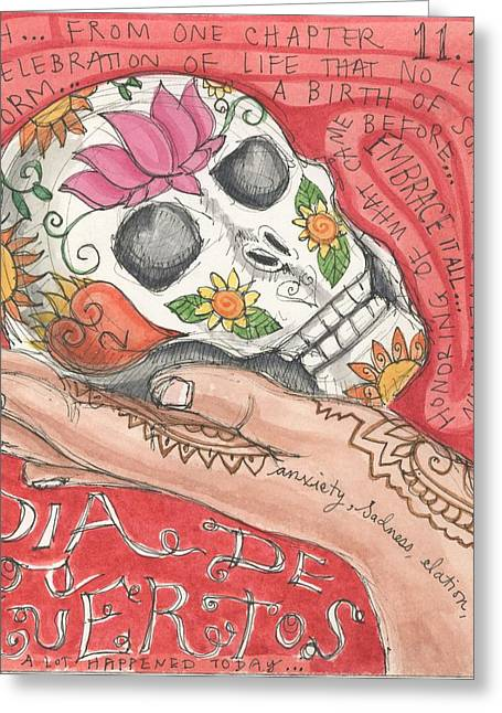 Dia De Los Muertos Greeting Card by Jennifer Mazzucco