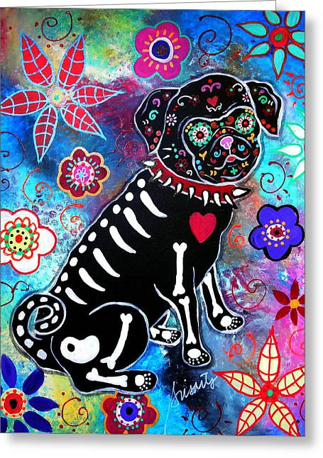 Dia De Los Muertos Pug Greeting Card by Pristine Cartera Turkus