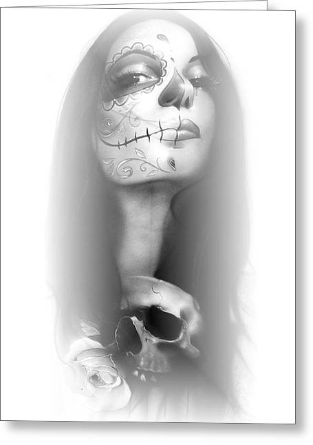 Sugar Skull - ' Dia De Los Muertos Rachel ' Greeting Card by Christian Chapman Art