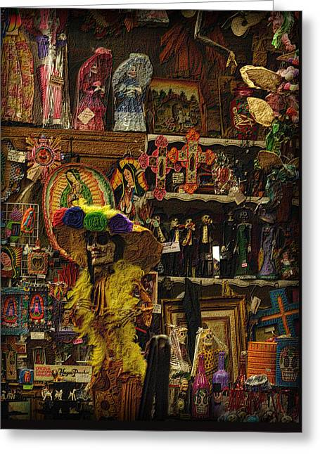 Dia De Muertos Shop Greeting Card by Nadalyn Larsen