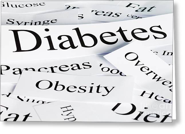 Diabetes Concept Greeting Card by Colin and Linda McKie