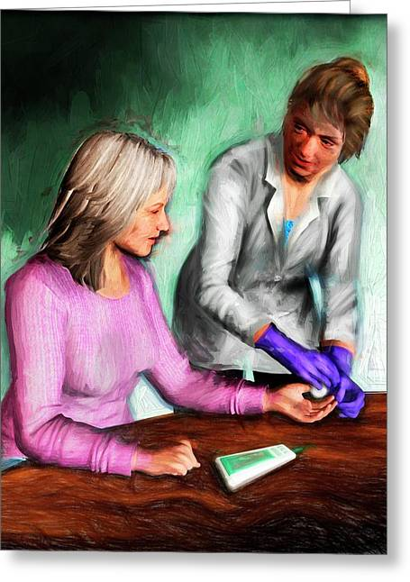 Diabetic Patient Blood Test Greeting Card by Nicolle R. Fuller