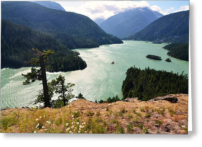 Diablo Lake Greeting Card by Kelly Reber