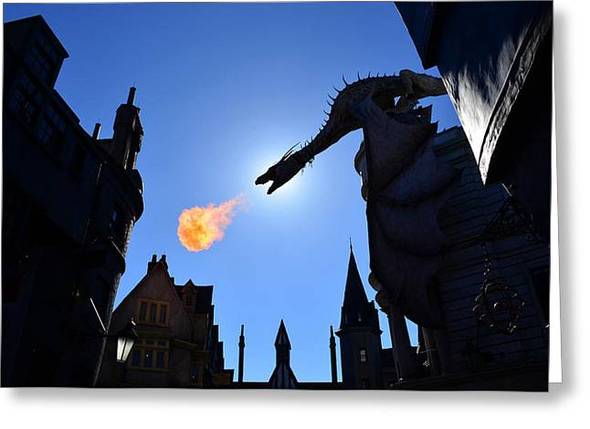 Diagon Alley Dragon Fire Greeting Card