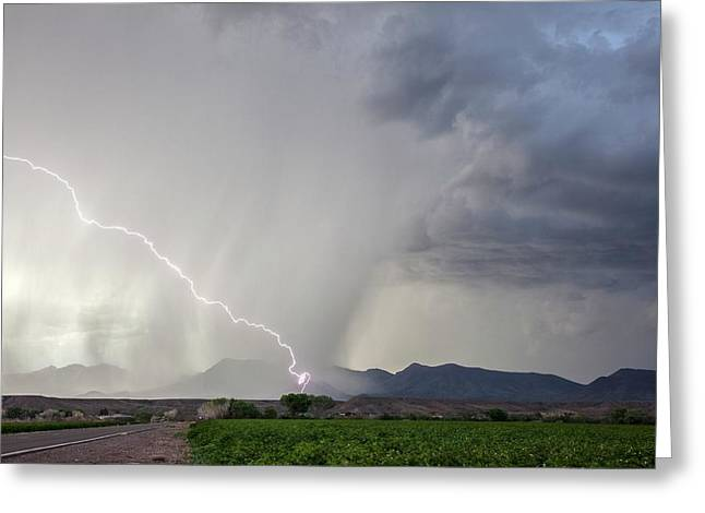 Diagonal Lightning Strike Greeting Card by Roger Hill