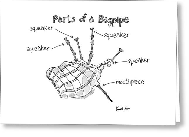Diagram Entitled Parts Of A Bagpipe Greeting Card
