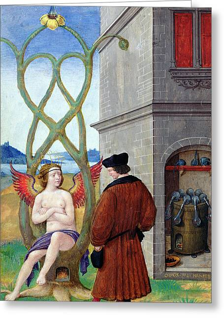 Dialogue Between The Alchemist And Nature, 1516 Vellum Greeting Card by Jean Perreal