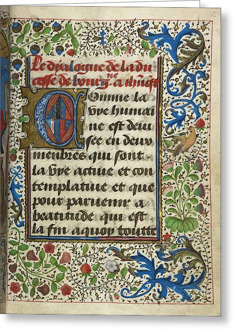 Dialogue Of The Duchess Of Burgundy With Greeting Card by British Library