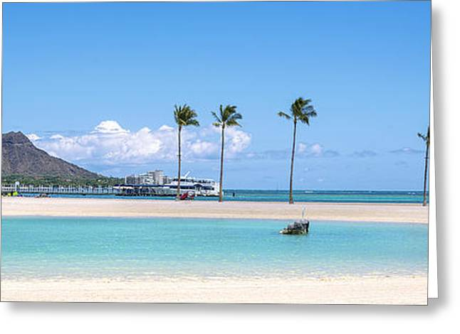 Diamond Head And The Hilton Lagoon 3 To 1 Aspect Ratio Greeting Card