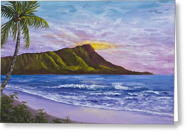 Greeting Card featuring the painting Diamond Head by Darice Machel McGuire