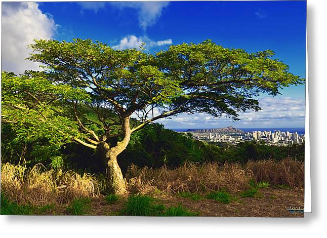 Greeting Card featuring the photograph Diamond Head From Tantalus Drive by Aloha Art