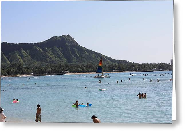 Diamond Head In The Afternoon Greeting Card by Adam Levine