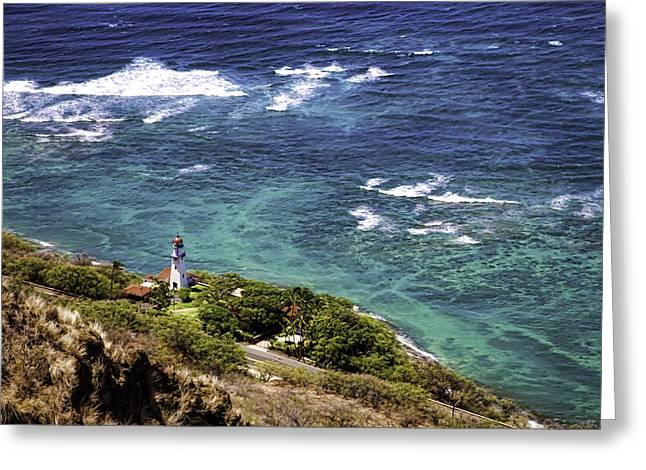 Diamond Head Lighthouse Greeting Card by Joanna Madloch