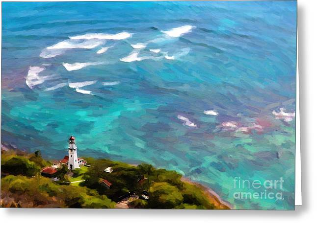 Diamond Head Lighthouse View Greeting Card