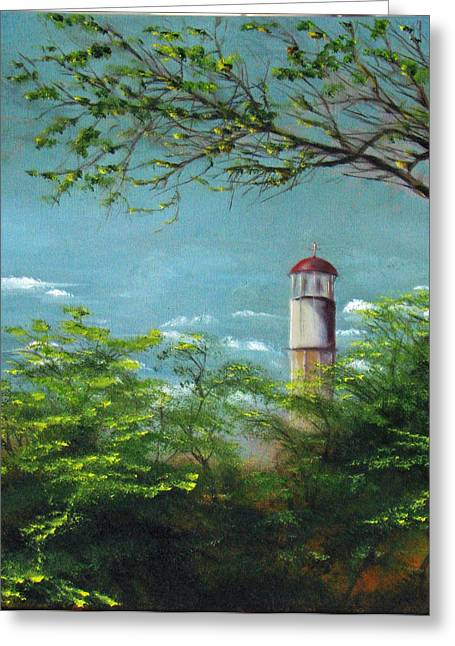 Diamond Head Lighthouse Greeting Card by Sherry Robinson