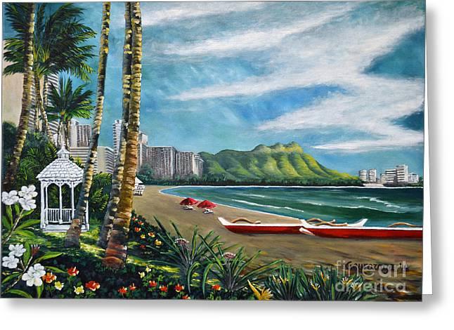 Diamond Head Waikiki Greeting Card