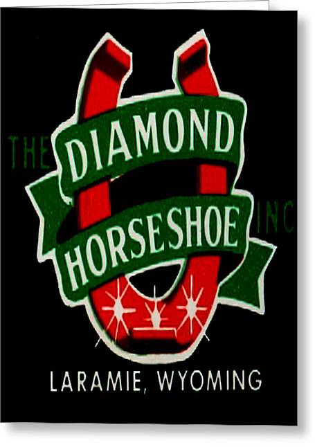 Greeting Card featuring the digital art Diamond Horseshoe by Cathy Anderson