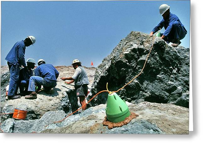 Diamond Miners With Explosives Greeting Card by Patrick Landmann