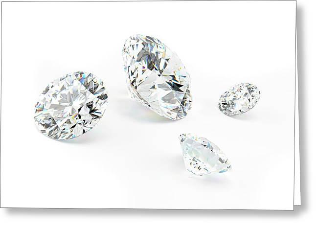 Diamond On White Background Greeting Card by Sebastian Kaulitzki