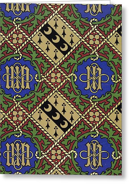 Diamond Print Ecclesiastical Wallpaper Greeting Card by Augustus Welby Pugin