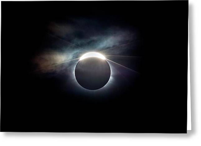 Diamond Ring Effect At Solar Eclipse Greeting Card by Dr Juerg Alean