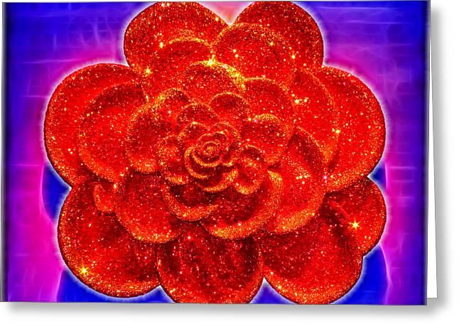 Diamond Rose Greeting Card by Kasia Bitner