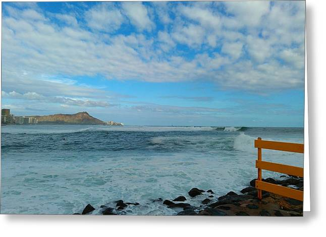Diamondhead And A Yellow Fence Greeting Card