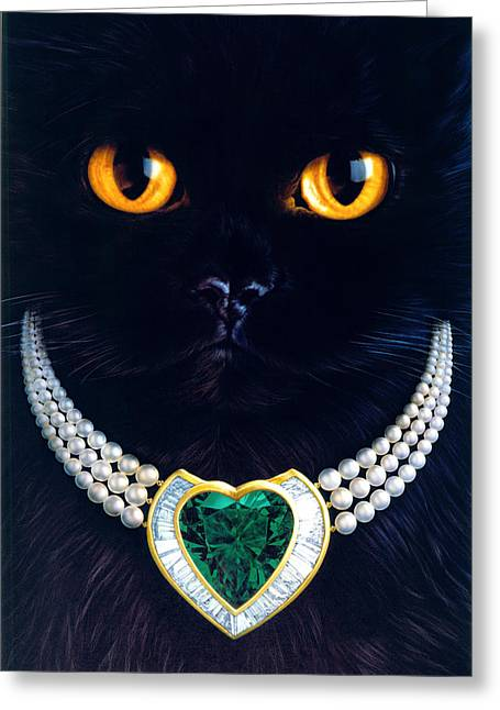 Diamonds Are A Cats Best Friend Greeting Card by Andrew Farley